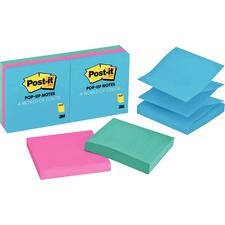 "Post-It® Pop-Up Jaipur Notes, Assorted Colors, 100 Notes Per Pad, 3"" x 3"", 6 Pads/Pkg"