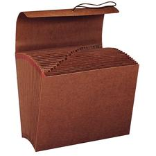 "Leather-like Expanding File, Monthly, 12"" W x 10"" H, Brown"