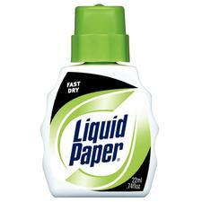 Liquid Paper Fast Dry Correction Fluid, Bright White, 12/Box