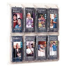 "Clear Plastic Brochure Display Rack, 8 Brochures, 20-5/8"" W x 20-1/2"" H x 2"" D"