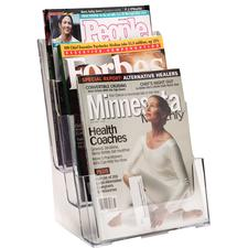 "Deflecto Magazine Holder, 3 Tier, 9-1/2"" W x 12-5/8"" H x 8"" D"