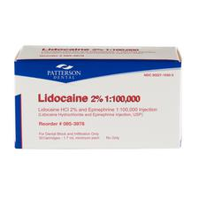 Patterson® Lidocaine Anesthetic HCl 2% with Epinephrine – 1.7 ml Cartridges, 50/Pkg