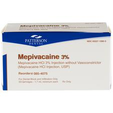 Patterson® Mepivacaine 3% HCl Injection without Vasoconstrictor – NDC 50227-1080-05, Latex-Free Cartridge 50/Pkg