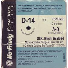 "Perma Sharp® Silk Black Braided Sutures – Nonabsorbable, D-14, Cutting End Taper 1/2 Circle, Size 3-0, Length 18"", 12/Box"