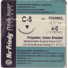"Perma Sharp® Polyester Green Braided Sutures – Nonabsorbable, C-6, 3/8 Circle Reverse Cutting, Size 4-0, Length 18"", 12/Box"