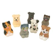 Cat and Dog Finger Puppets, Vinyl, Assorted, 2