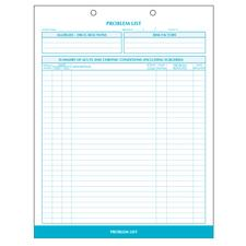"Problem List, Process Blue, 8-1/2"" W x 11"" H, 100/Pkg"