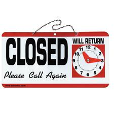 """Open/Closed Sign With Clock, 11-1/2"""" x 6"""""""