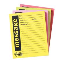 Telephone Message Pads, Assorted Colors, 4