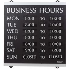 Century Series Business Hours Sign, Black/Silver, 13