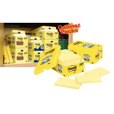 "Canary Yellow - Cabinet Pack Rules Super Sticky Notes, 4"" x 4"", 12 Pads/Pkg"