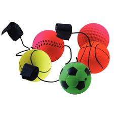 "Sports Palm Paddle Balls, Assorted, 1-1/2"" Dia. x 18"" H, 24/Pkg"