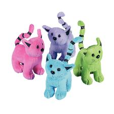 "Plush Cats, 2-1/2"" W x 4"" H x 4"" D, Assorted Colors, 12/Pkg"
