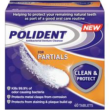 Polident® for Partials Clean & Protect Denture Cleanser – 40 Tablets/Box, 6 Boxes/Pkg
