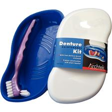 Denture Storage and Cleaning Kit, White/Blue