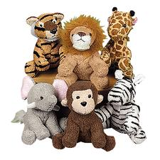 "Plush Zoo Animals, Assorted, 5"", 12/Pkg"