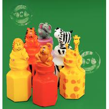 "Plastic Zoo Animal Character Bubble Bottles, Assorted, 3"", 24/Pkg"