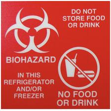 Red Magnetic Refrigerator Biohazard Labels
