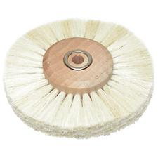"White Bristle Wheel Brush on Wood Hub – 3"" diameter with 1/4"" hole"