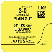 "Plain Gut Suture – Size 3-0, Length 54"", 12/Box"