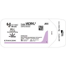 "Coated VICRYL™ Sutures Absorbable – Precision Cosmetic Conventional Cutting, PC-1, 3/8 Circle, 18"", 12/Pkg"