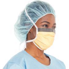 Masques chirurgicaux antibuéeFluidshield avec visière antireflet et écran total anti-éclaboussures – ASTM niveau3, style plié avec attaches, orange, 25/emballage