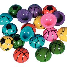 "Vinyl Sports Poppers, Assorted, 1-1/4"", 24/Pkg"