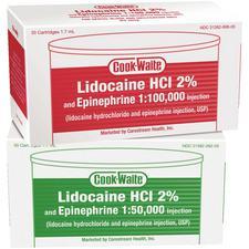 COOK-WAITE Lidocaine HCl 2% and Epinephrine Injection Cartridges, 50/Pkg