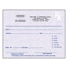 "Indiana Prescription Blanks, 1 Part, Personalized, 5-1/2"" W x 4-1/4"" H, 100 Sheets/Pad; 10 Pads/Pkg"