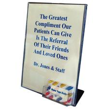 """Deflecto® Acrylic Sign Holder With Business Card, 8-1/2"""" W x 11"""" H"""