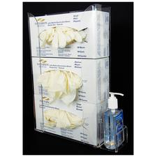 "Acrylic Glove Box Holder with Side Pocket for Hand Sanitizer, 3 Pocket, 10"" W x 16"" H x 3-1/4"" D with pocket 3-1/4"" W x 2"" H x 2-1/4"" D"