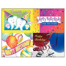 "Happy Birthday Assortment Pack 4-Up Laser Postcard, 5-1/2"" W x 4-1/4"" H, 100/Pkg"