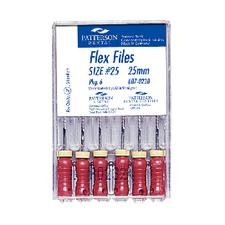 Patterson® Flex Files – 25 mm, Color-Coded Plastic Handles, 6/Pkg