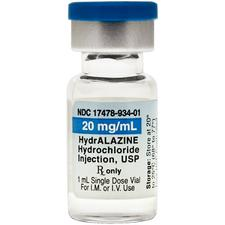 HydrALAZINE Hydrochloride – 20 mg/ml, 1 ml, Injection, 25/Pkg, NDC 17478-0934-15