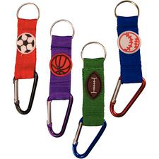 Clip Sports Ball Keychain, Assorted, Metallic Alluminum Clip, 4-1/4