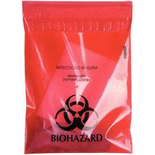 Waste Stick-On Bags – Red Biohazard, 100/Pkg