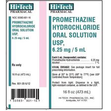 Promethazine Hydrochloride – 6.25 mg/5 ml Strength, Oral Solution, 1/Pkg, NDC 50383-0801-16