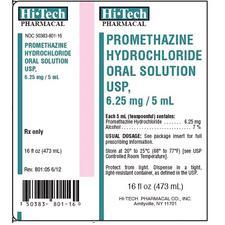 Promethazine Hydrochloride – 6.25 mg/5 ml Strength, Oral Solution, 1/Pkg, NDC 50383-0801-16