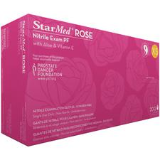 StarMed® Rose Nitrile Exam Gloves with Aloe and Vitamin E, Powder Free
