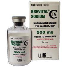 Brevital®, Methohexital Sodium, Injection, 500 mg/50 ml Strength, 50 ml, 1/Pkg, NDC 42023-0105-01, Schedule 4