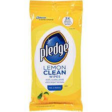 Pledge® Furniture Polish Wipes, Lemon Scented, 7