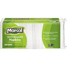 Marcal® Recycled Napkins, White, 5-3/4