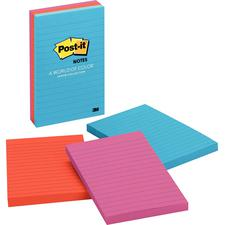 "Post-It® Jaipur Lined Notes, 4"" x 6"", 3 Pads/Pkg"