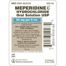 Meperidine Hydrochloride Oral Solution – 50 mg/5 ml Strength, 500 ml, 1/Pkg, NDC 00054-3545-63