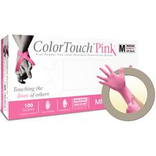 ColorTouch® Pink Latex Powder-Free Exam Gloves, 100/Box