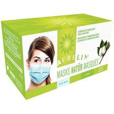 Masques Aurelia Natural à bandes auriculaires 100% coton – ASTM niveau 2, 50/boîte