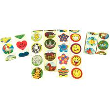 "Patterson Fun Sticker Assortment, 1-1/2"", 100 Stickers/Roll; 8 Rolls/Pkg, 800/Stickers"