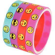 Emoticon Bracelets, Rubber, Assorted, 2-1/2
