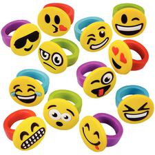 Emoticon Rings, Rubber, Assorted Designs and Colors, 1