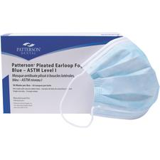 Patterson® Pleated Earloop Fog-Free Masks – ASTM Level 1, Blue, 50/Box